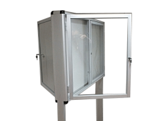 Aluminiowa gablota 10-WWDB-ZQ stojąca dwuskrzydłowa
