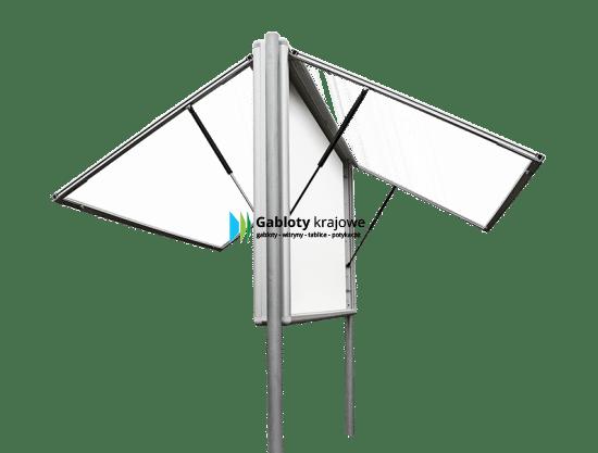 Gablota aluminiowa 2WDJGT13G3 dwustronna dwuskrzydłowa do góry