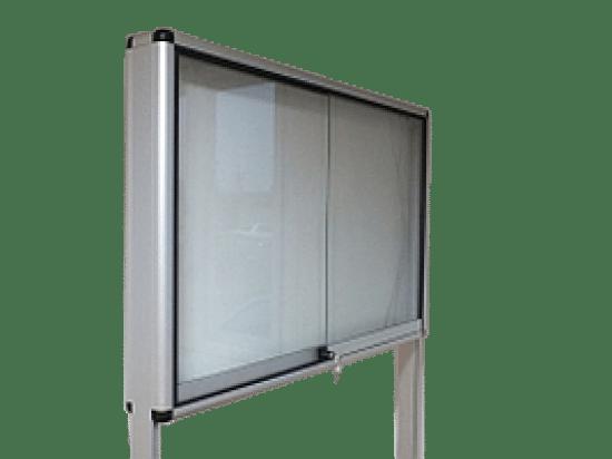 Aluminiowa gablota 9WWDPG2 wolnostojąca dwustronna na boki