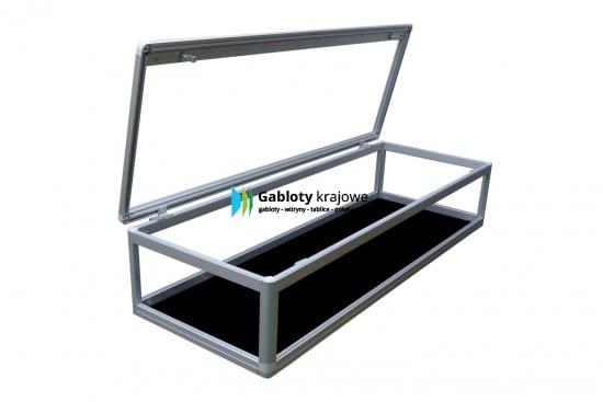 Szklana gablota 02-M27-VX aluminiowa uchylna do góry
