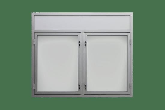 Gablota z aluminium 1DS3,2FG7 wewnętrzna dwuskrzydłowa uchylna
