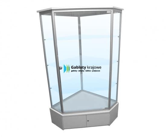 Szklana gablota 05-WS25-QZ aluminiowa jednoskrzydłowa na boki
