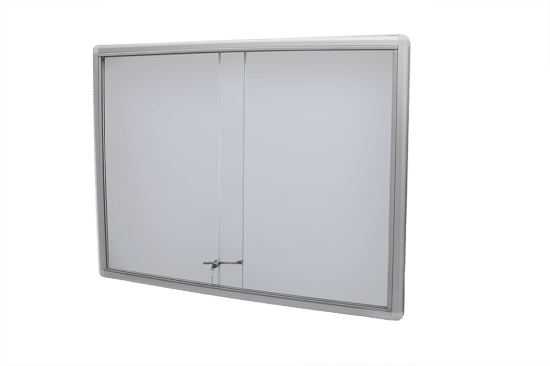 Szklana gablota 48-P3-VQ aluminiowa przesuwana na boki