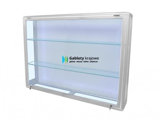 Szklana gablota 7WW1G2 aluminiowa wolnostojąca uchylana