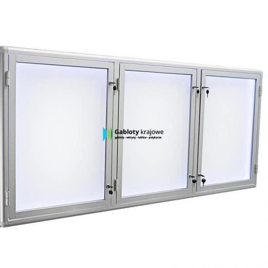 Witryna szklana 02-TSP6-ZQ aluminiowa 3-skrzydłowa uchylana