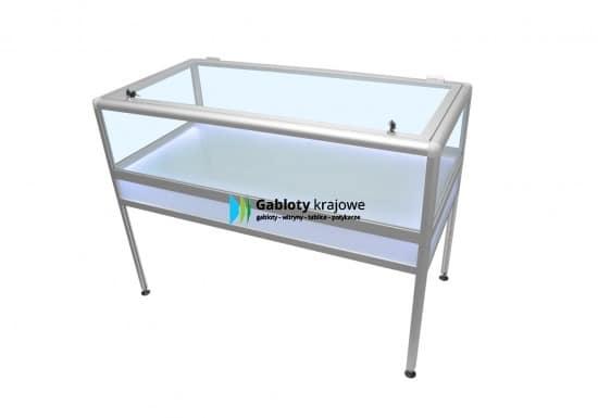 Witryna szklana 74-M13-XZ aluminiowa wolnostojąca