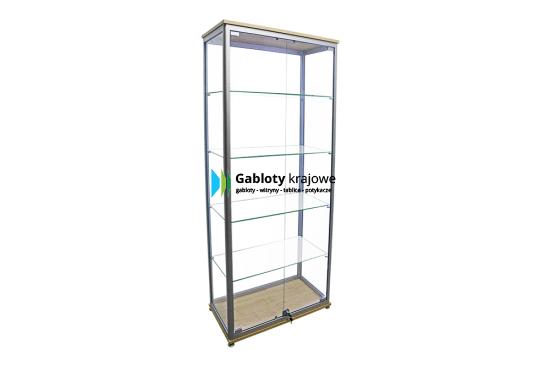 Witryna szklana 41-WS1-VX aluminiowa stojąca 2-skrzydłowa