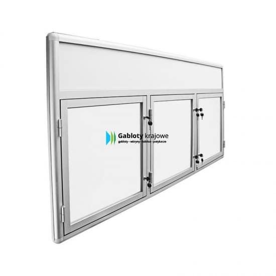 Witryna szklana 50-TS3F-VZ aluminiowa jednostronna 3-skrzydłowa