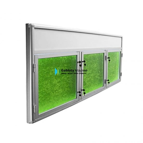 Witryna ze szkła 9TSP6FG9 aluminiowa trzyskrzydłowa